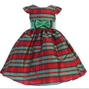 Red & Green Stripe Cap Sleeve Taffeta A-line Dress